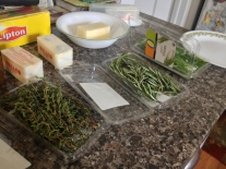 Prepping all the ingredients.